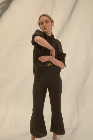 Muse the Label Bessie Cropped Flares - Black
