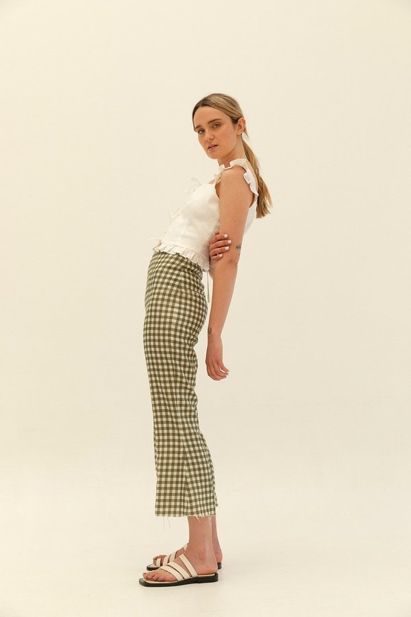 Muse the Label Bessie Cropped Flares - Khaki Check