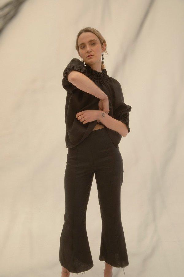 Muse the Label Celia Frill Blouse - Black