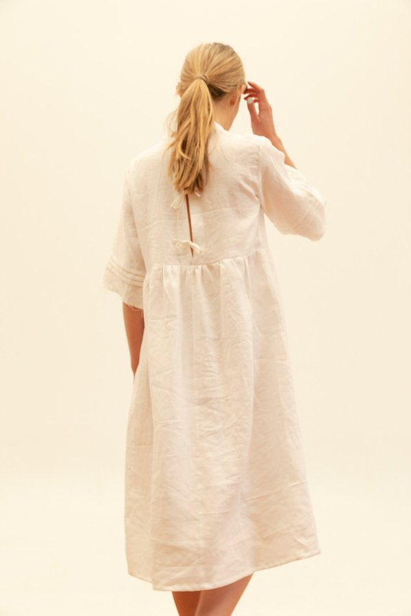 Muse the Label Florence Pintuck Dress - White