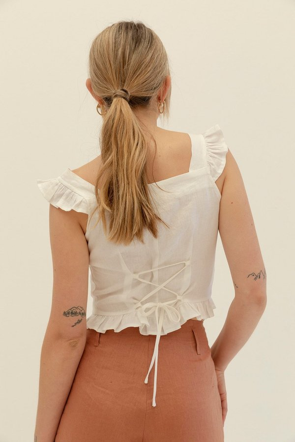 Muse the Label Isobel Frill Tank - White