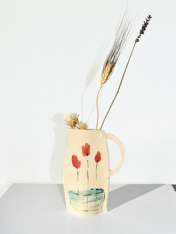 Alison Owen Tall Red and Yellow Flowers Vase - white