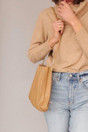 Melie Bianco Carrie Pleated Vegan Shoulder Bag - Taupe