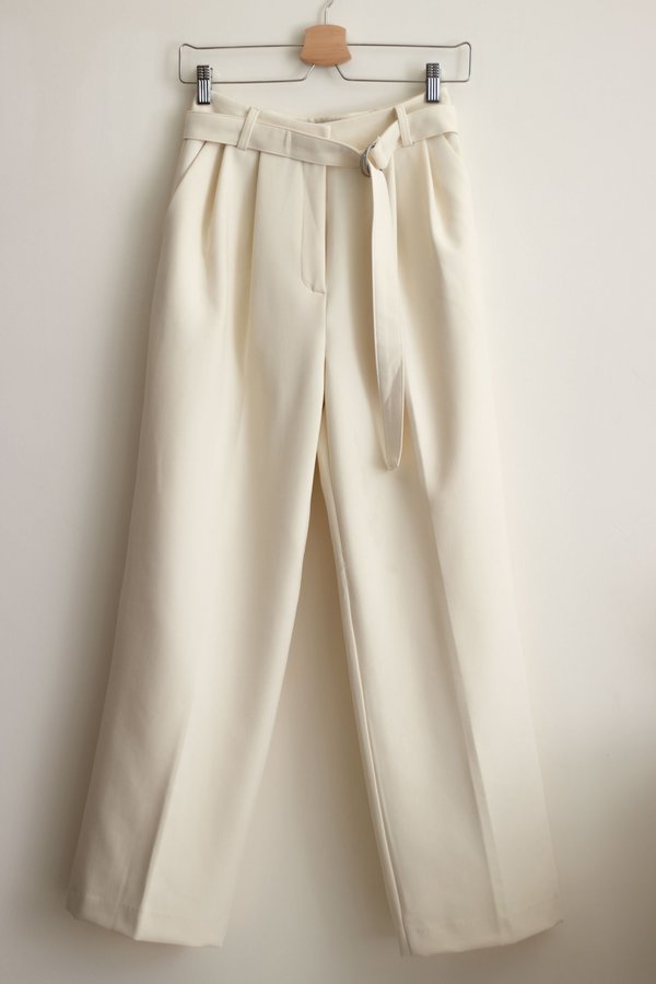 W A N T S Belted Pleat Front Pants - Cream