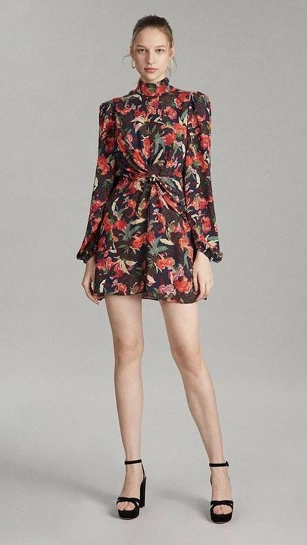 Saloni Demi Mini Silk Dress - Moonflower Print