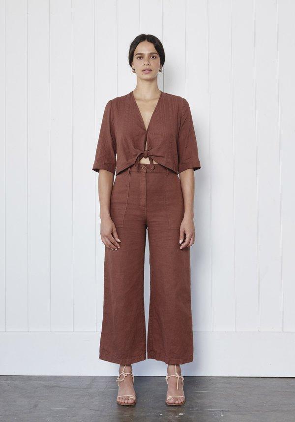 First Rite  Linen Canvas Cargo Trouser - Clay