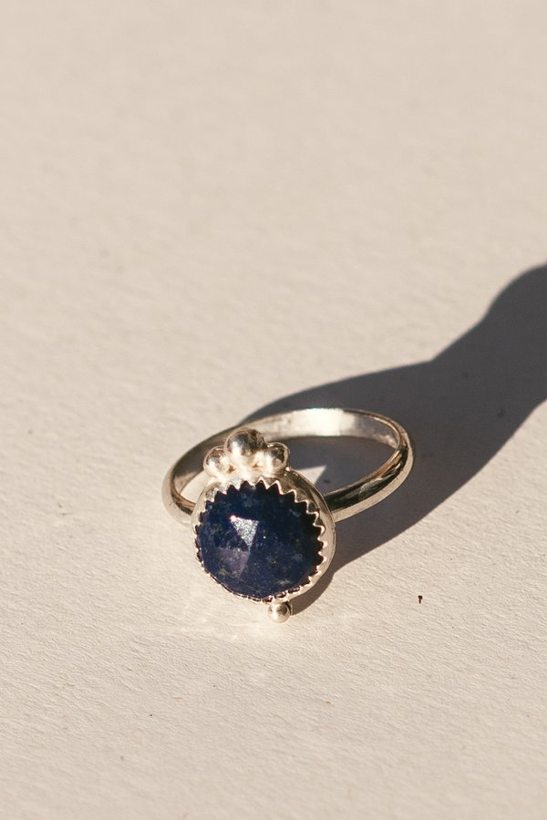 Blue & Blue Silver Dots Ring with Lapis Lazuli