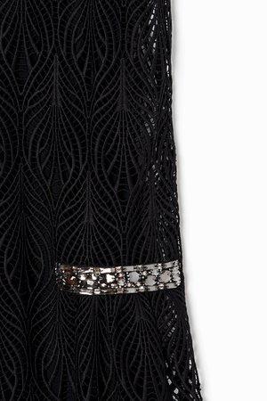Alberta Ferretti Rhinestone Embellished Lace Dress