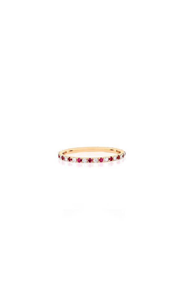 EF Collection Dia & Ruby Dot Eternity Band - Yellow Gold