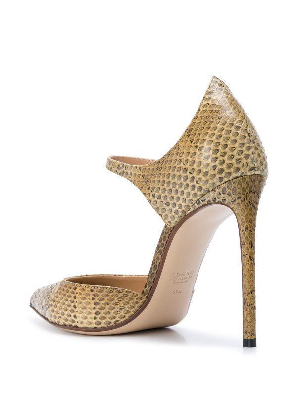 FRANCESCO RUSSO Leather Mary Jane Pumps - Mustard