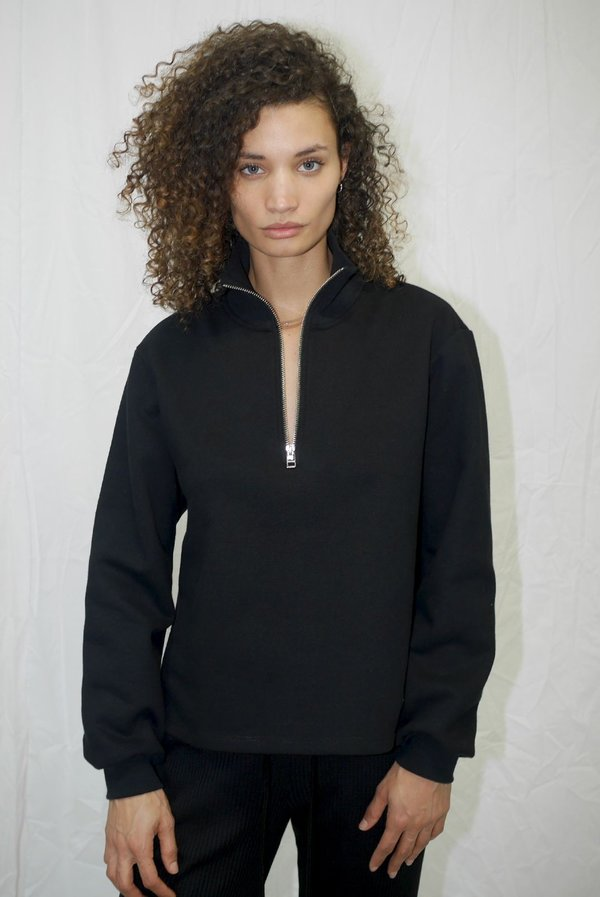 The Range Brushed Contra Terry Zip Neck Sweatshirt - Black