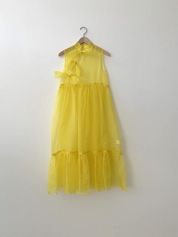Kamperett MAE SILK ORGANZA DRESS - CANARY