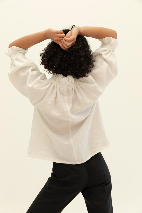 Muse the Label Celia Frill Blouse - White
