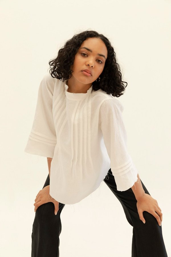 Muse the Label Elly Pleat Shirt - White
