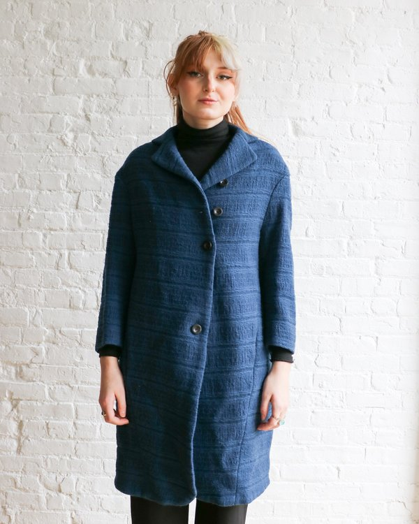 Lilith Button Up Coat - Blue