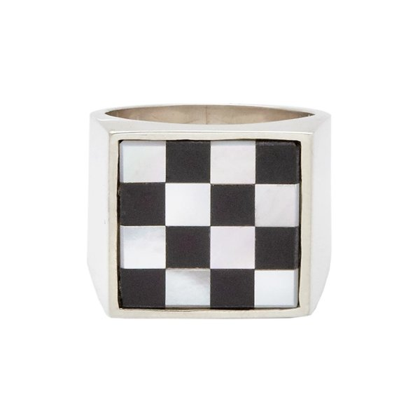 Unisex Tarin Thomas Checkered Samuel Ring - Black Onyx/White Mother of Pearl
