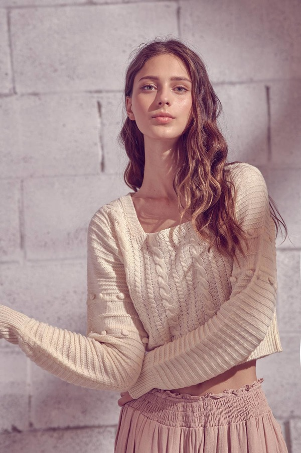 STORIA - Preorder Ribbed Knit Cropped Sweater