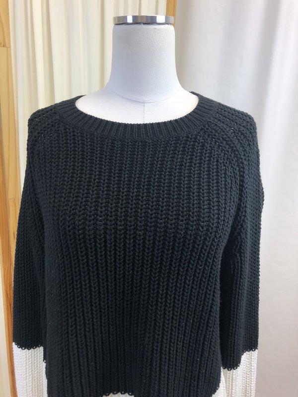[Pre-loved] 360 Cashmere Cotton Sweater - Black/White