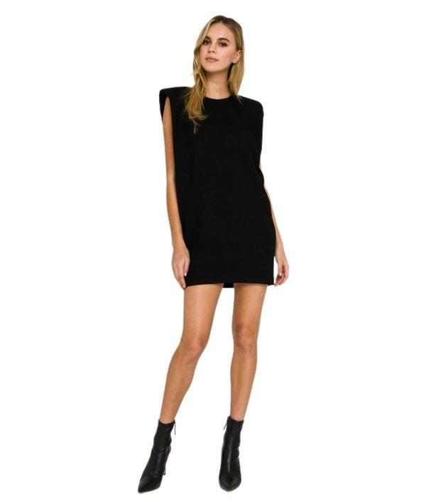 Lola Ribbed Shoulder Pad Dress - Black