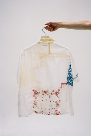 BODE One of a Kind Handkerchief Patchwork Louie Shirt - White Multi