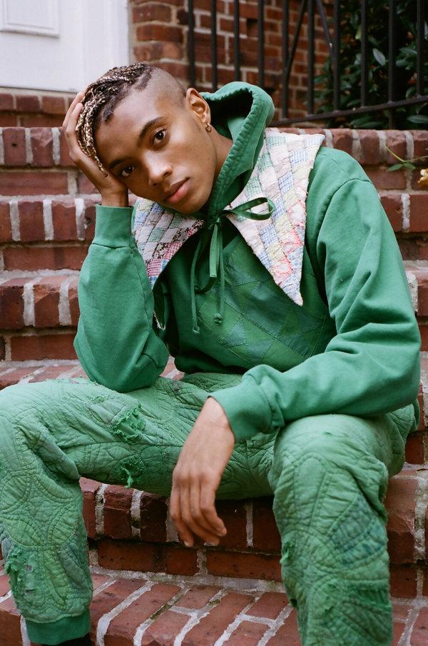 UNISEX Carleen Quilt Patch Hoodie - Green Overdye