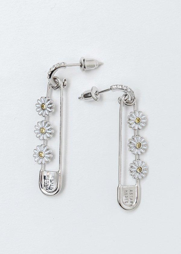 ASTAR HADES Daisy Pin Single Earring - Silver