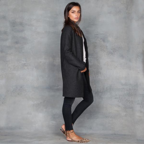 harris wharf london cocoon coat pressed wool anthracite garmentory. Black Bedroom Furniture Sets. Home Design Ideas
