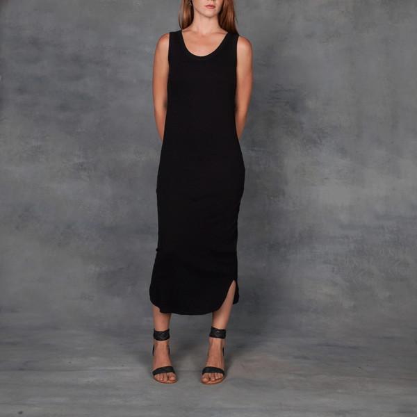 Organic By John Patrick 1x1 Cotton Rib Tank Dress in Black