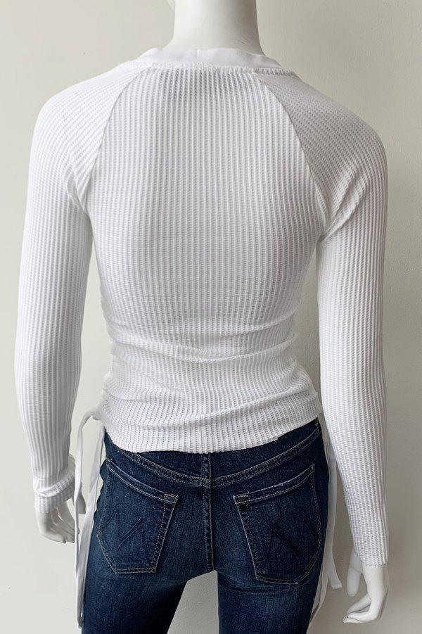 The Range Stark Jumbo Waffle Knit Gathered Slash Top - White