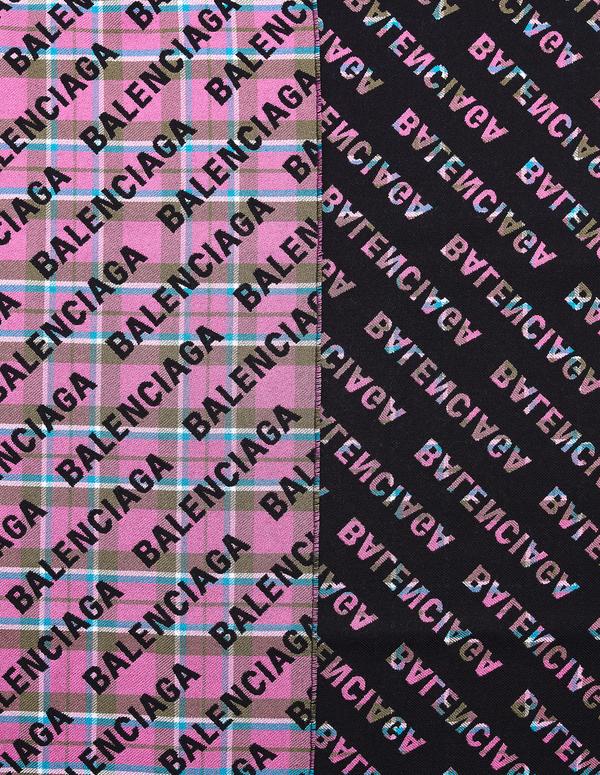 Balenciaga Checked Scarf - Pink