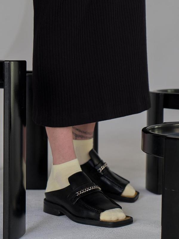 UNISEX Martine Rose Open Toe Loafer Mule - Black