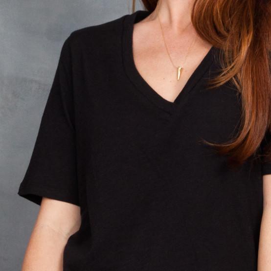 Skin Black Jersey V-Neck T-Shirt