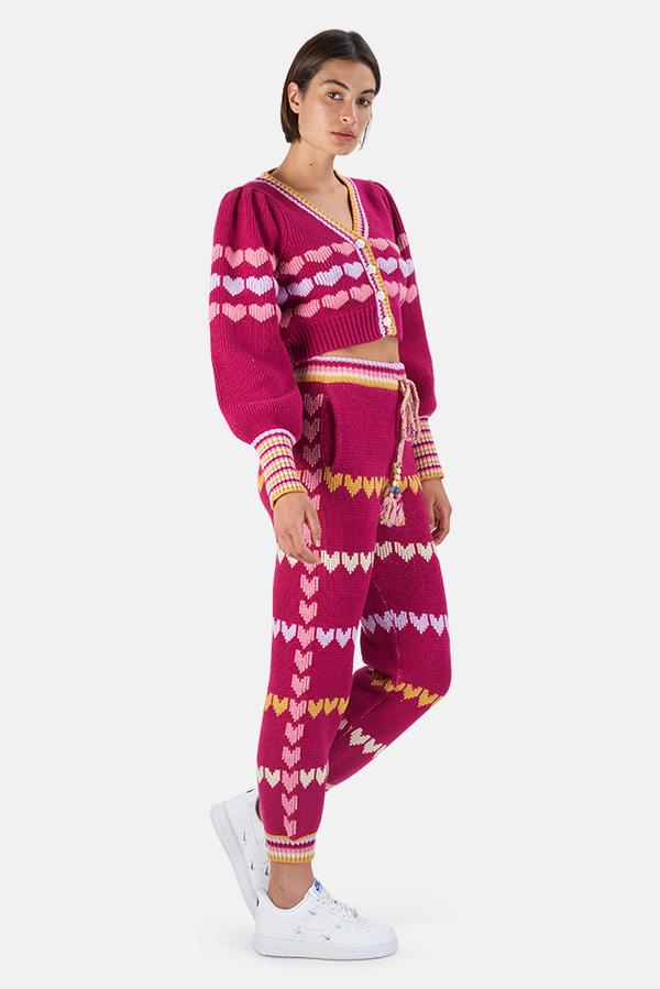 LoveShackFancy Buena Crop Cardigan Sweater - Warm Heart