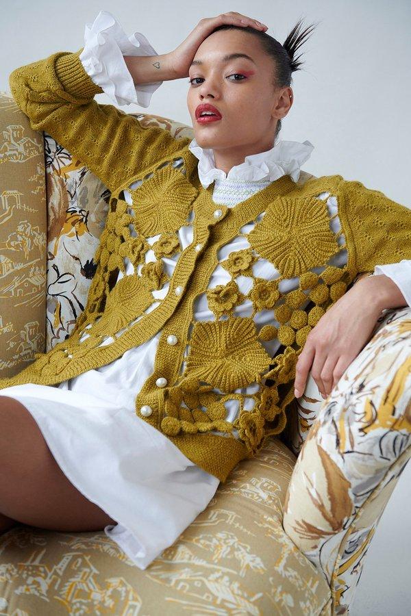 Batsheva Crochet Alpaca Cardigan - Mustard