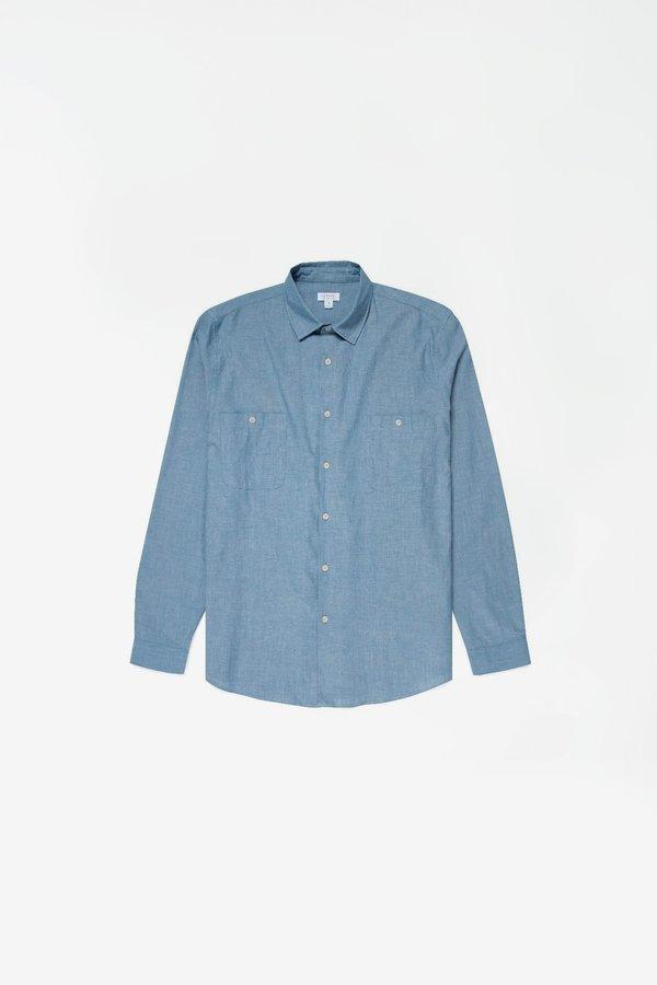Sunspel Japanese selvedge chambray overshirt - blue