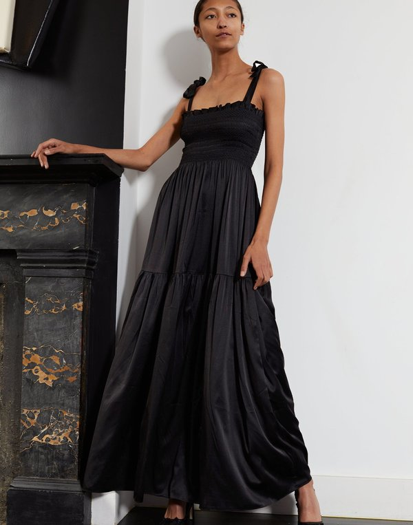 Cynthia Rowley Marina Silk Smocked Shoulder Tie Dress