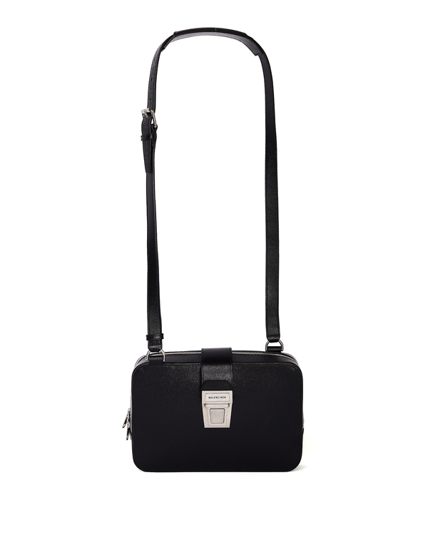 Balenciaga Leather Bag With Logo - Black