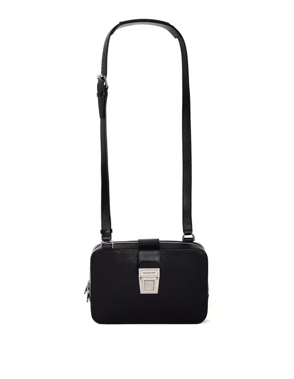 Balenciaga Leather Bag With Logo - Black