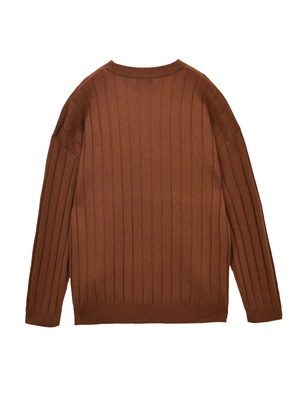 UNISEX Pure Cashmere NYC Ribbed Crew Neck Sweater - Sienna
