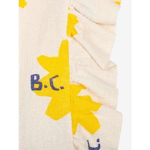 kids bobo choses sparkle allover ruffle woven top - cream/yellow