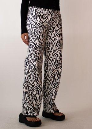 W A N T S Zebra Straight Leg Faux Leather Pants