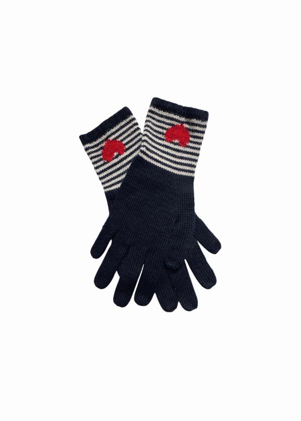 Yapa Striped heart gloves - Black