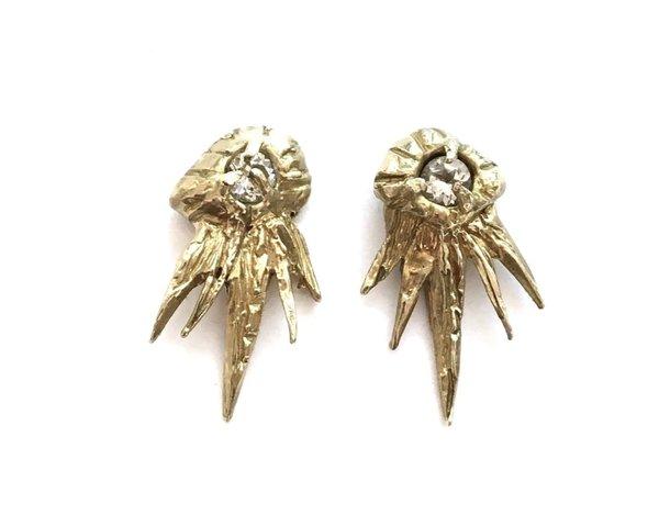 Monica Squitieri Montana Earrings in brass and white topaz