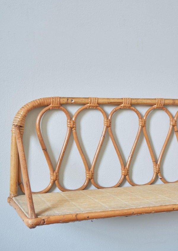 Vintage Bamboo and Rattan Shelf