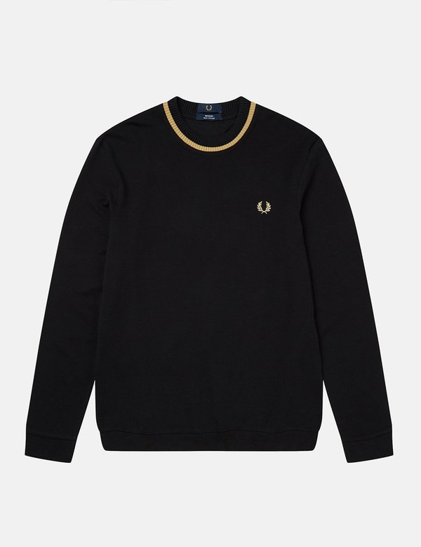 Fred Perry Re-Issue Crew Neck Long Sleeve Pique T-Shirt - Black/Champagne