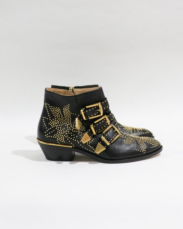 Chloe Susanna Studded Ankle Boots, Size 36.5