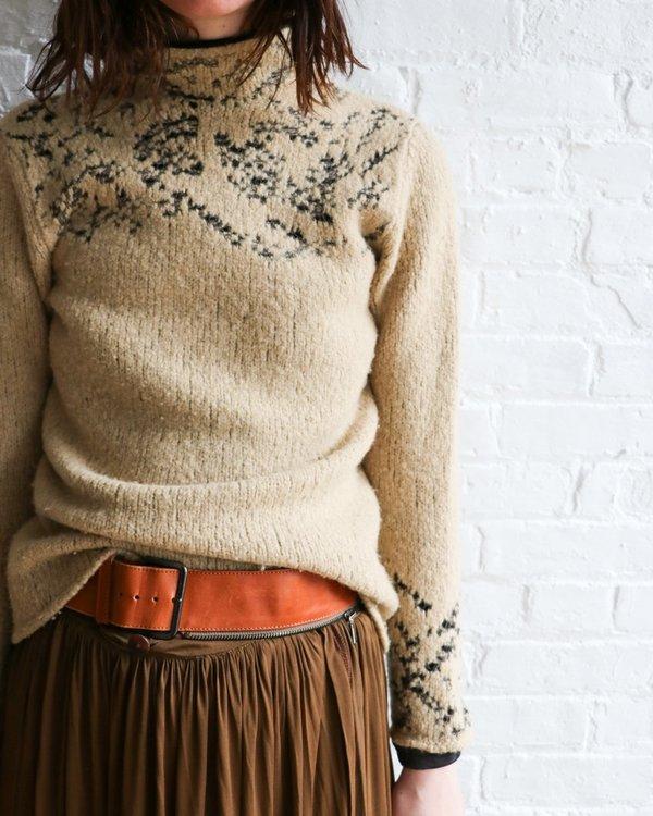 [Pre-loved] Dries Van Noten Threaded Mock Neck Sweater - Beige