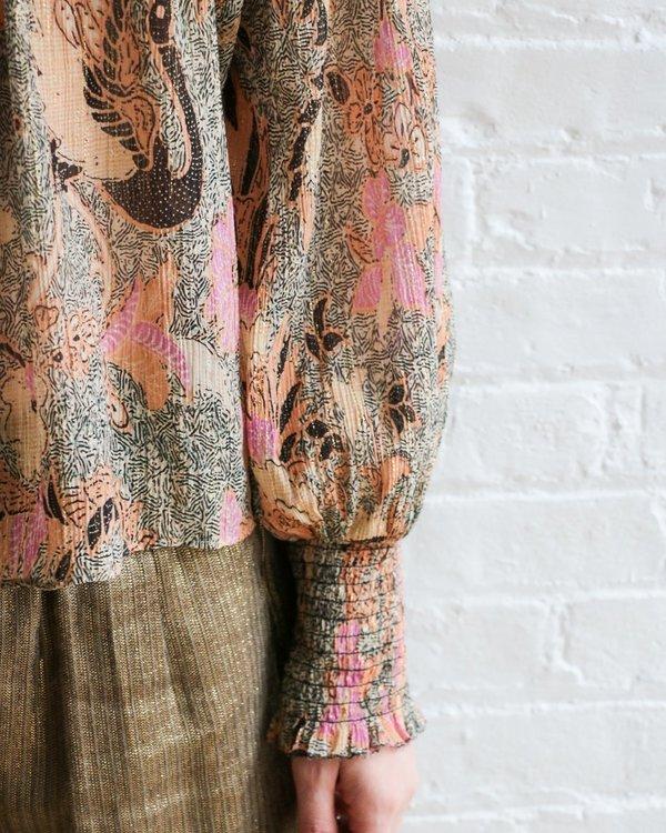 [Pre-loved] Ulla Johnson Smocked Metallic Blouse - Beige