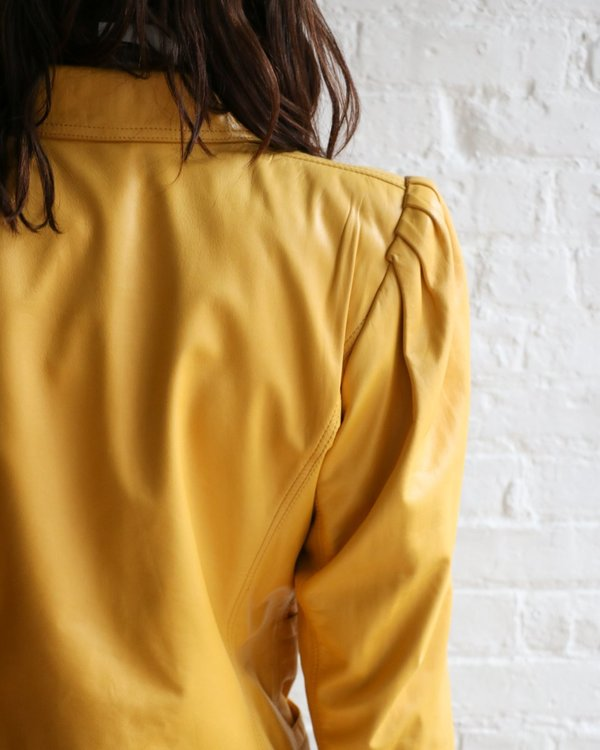 Vintage Leather Jacket - Yellow