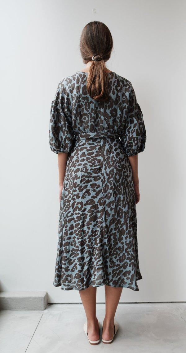at Dawn. Linen Puff Sleeve Wrap Dress